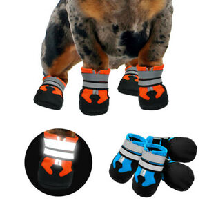 Anti-slip Waterproof Dog Rain Boots Reflective Puppy Winter Shoes Fleece Padded
