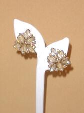 Juliana D&E Three Sided Earrings w/ Beige Givre Stones & Aurora Borealis Accents