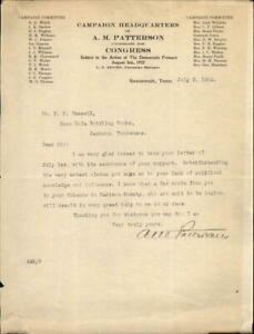 1922 Savannah Tennessee (TN) Letter Campaign Headquarters of A. M. Patterson