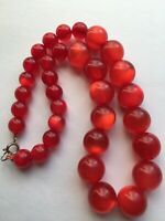 Vintage Raspberry Moonglow Lucite Rockabilly Pink Red Necklace