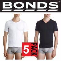 BONDS MENS 5 PACK RAGLAN ROUND CREW NECK COTTON T SHIRT WHITE BLACK TEE SIZE TOP
