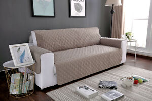 Pet Protector 2-Seater Sofa Covers Quilted Nonslip Floral Khaki Slipcover Room