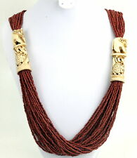Massive 40 strand Exotic Tribal Carved Elephant Blood Red Heishi Glass Necklace