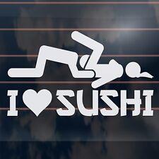 I LOVE SUSHI heart funny fishing hunting window car Sticker 180mm