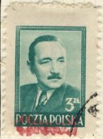 POLOGNE / POLAND 1950 GROSZY O/P T.26 (Wroclaw Wr.2 red) Mi622 used