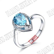 Sterling Silver Prong Setting Pear 8x6mm Swiss Blue Topaz Diamonds Wedding Ring