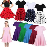 Girls Short Sleeve Dress Kids Flared Swing Summer Party Skater Mini Skirt Dress
