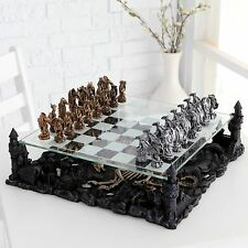 Dragon Pewter Chess Glass Board 3D Game Set Hobbie Table Play Gift Medieval