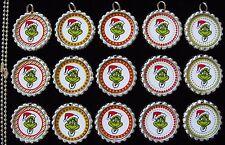 15 Christmas Grinch Silver Flat Bottle Cap Necklaces Set 1