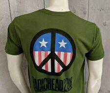 RADIOHEAD Tee Shirt 2018 tour CAMO Green S SMALL Peace Symbol Stars & Stripes