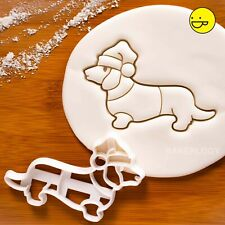 Christmas Dachshund cookie cutter | santa hat sausage dog wiener Dackel cute