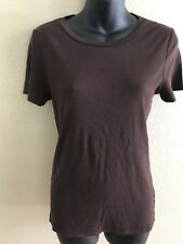 J. CREW Women's Fitted Tee T-Shirt Top Size Large L Short Sleeve Brown Cotton