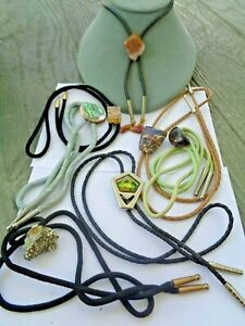 Lot of 7 Vintage Men's SouthWestern Jeweled Bolo Ties. Agates, Stone, MOP
