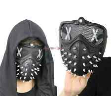 Hot Game Watch Dogs2 Marcus Mask Men Cosplay Prop Black Punk Gothic Rivet Mask