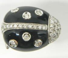 Italy 18K White Gold LADYBUG Diamond Cluster & Black Onyx Figural Pin assay *237