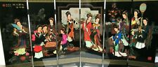 CHINESE PAINTED LACQUER GEISHA GIRLS SIX PANEL SCREEN SIGNED IN ORIGINAL BOX