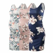 Womens Vintage Maternity Dress Sleeveless Side Ruched Pregnant Tank Dress Floral