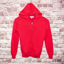 ERIC BOMPARD 100% Cashmere Full Zip Hoodie Sweater Red Childs 12A fits adult S