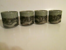 "Vintage Set of 4 Somayaki Somaware Tea Cups 2.75"" Green Crackle Double Walled He"
