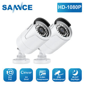 SANNCE 1080P HD POE 2MP CCTV Security IP Camera for NVR System Onvif Outdoor IR