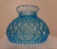 "NEW 7"" Diamond Quilted Light Blue Glass Oil Student Lamp Shade Crimp Top  #PS663"