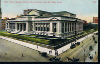 NEW YORK LIBRARY BUILDING~NEW YORK CITY MANHATTAN POSTCARD FIFTH AVENUE HORSE