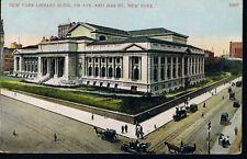 NEW YORK LIBRARY BUILDING~NEW YORK CITY MANHATTAN POSTCARD FIFTH AVENUE HORSE