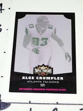 Alge Crumpler: 2006 Triple Threads 1/1 Printing Plate - Falcons / NC Tar Heels