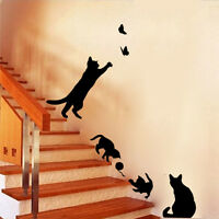 Cat Play Wall Stickers Decals Vinyl Art DIY Home Living Room Decor Removable