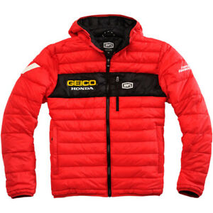 100% Mode Hooded Puff Jacket Geico Honda Red XL Men's Adult Casual 3001076*