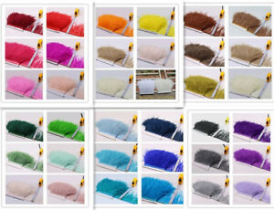 35 Colours Quality Ostrich Feather Fringe Trim For Millinery Hat Craft Dress 1 M