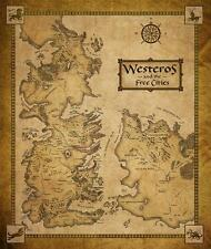Game Of Thrones Houses Map Westeros And Free Cities 14x16 Poster