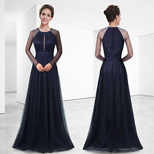 Ever-Pretty Beaded Formal Evening Dress Blue Long Sleeve Prom Party Dress 08553
