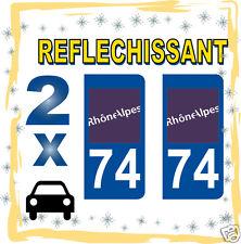 2 stickers REFLECHISSANT département 74 rétro-réfléchissant immatriculation AUTO