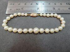 d896765a037 14K Vintage Lustrous cultured Pearl Beads Bracelet w/ 14K Clasp 7.25