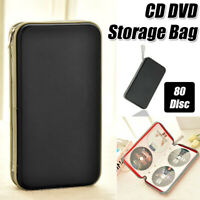 80 Disc Capacity Hard Shell CD DVD Storage Case Zipper Wallet With Carry Handle