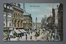 R&L Postcard: Leeds, Boar Lane, Shops, Trams, Cafe