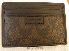 NWT Coach 74759 Men Sig Chelsea Heritage Slim Card Case Wallet Mahogany Brown