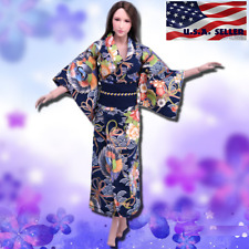 "1/6 Women Kimono Dress Japanese NAVY For 12"" Phicen Hot Toys Female Figure USA"