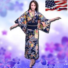 """1/6 Women Kimono Dress Japanese NAVY For 12"""" Phicen Hot Toys Female Figure USA"""