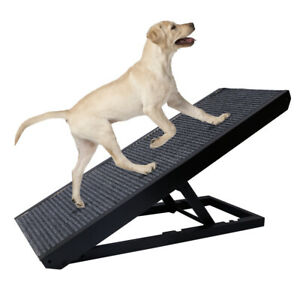 """Pet Dog Cat Ramp 4 Adjustable Heights Bed/Couch 40"""" Folds Flat Support 110lb"""