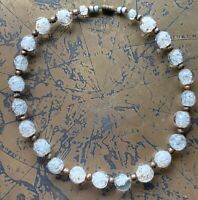 """Vintage Italy White & Gold Confetti Glass Murano Beaded Necklace 17"""""""
