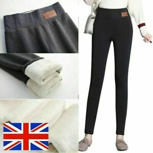 Women's Winter Thick Warm Soft Fleece Lined Thermal Stretchy Leggings Pants 8-20