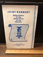 Vintage 1992 Joint Banquet Allied Orders Grand Army of the Republic Scranton Pa