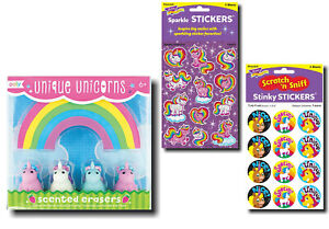 Unicorn Stationery Gift Pack - Scented & Sparkle Stickers + Scented Erasers Set
