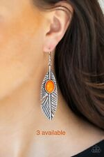 Paparazzi Silver 'Quill Thrill' Orange Feather Earring Set