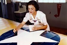 New 5x7 World War II Photo: Painting Airplanes for War Effort at Naval Air Base