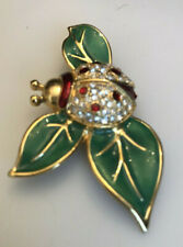 Vintage 1980's Costume Rhinestone & Enamel Lady Bug On L