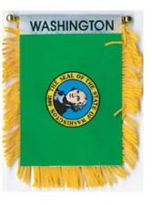 """Washington Mini Banner Flag 4 x 6"""" with Brass Staff & Suction Cup - New"""