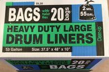 H B Smith Heavy Duty 55 Gallon Drum Liner. Box of 20. New!